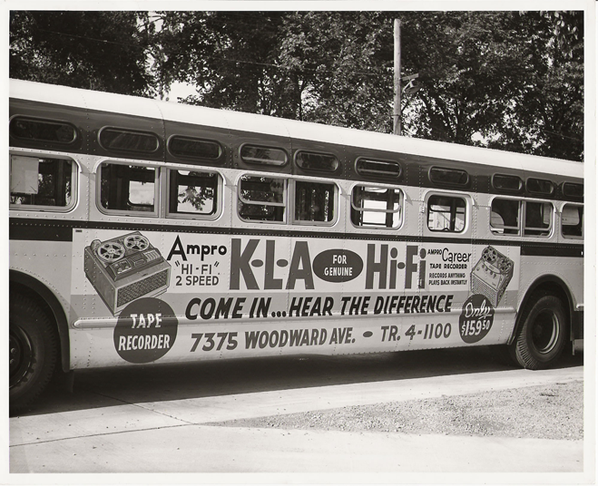 Bus with vintage KLA advertisement on the side