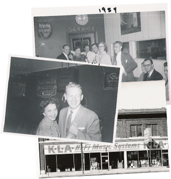 black and white photographs of KLA team and storefront
