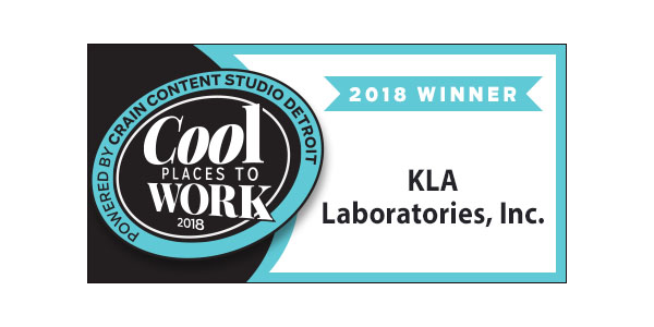 Cool places to work award with KLA Laboratories on it