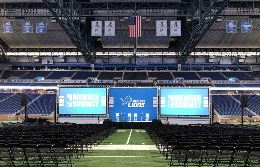 Stage set up at the 2019 Lions Member Summit at Ford Field
