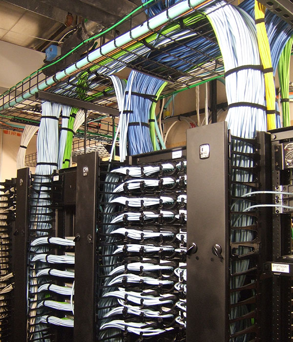 Network cabling installed by the KLA team