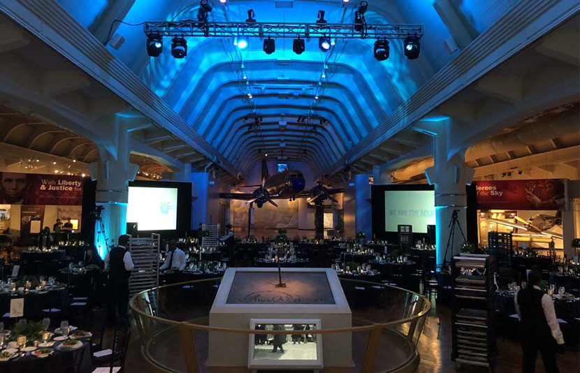 AA/V set up at the CLU of Michigan Annual Dinner at The Henry Ford Museum