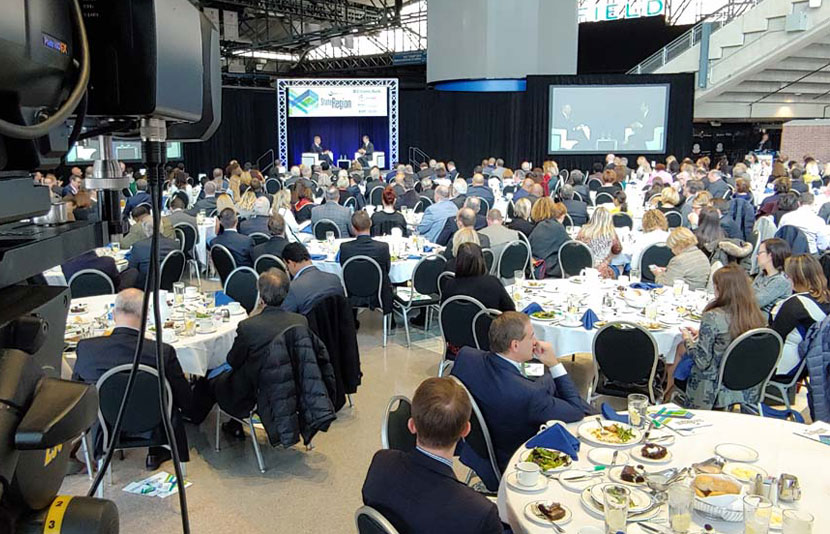 A/V set up at the Detroit Regional Chamber Economic & Automotive Outlook at Ford Field