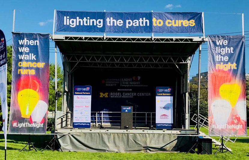 Stage set up at The Leukemia & Lymphoma Society Light the Night Walk